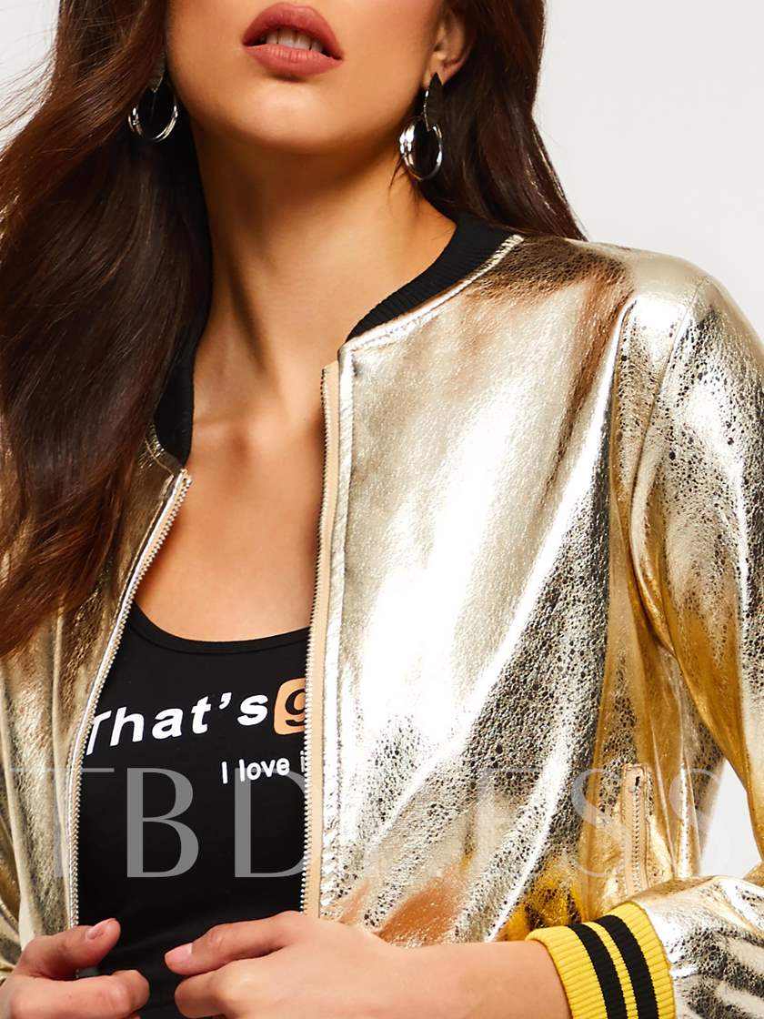 Shimmery Zipper Stripe Women's Baseball Bomber Jacket
