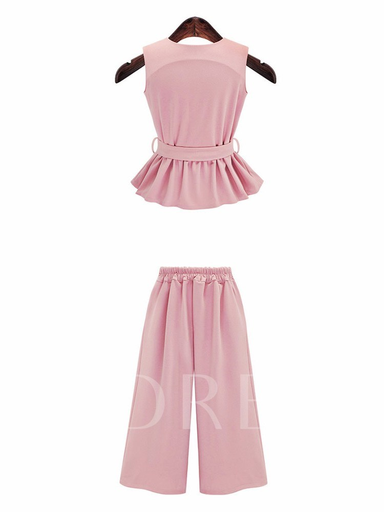 Pleated Lace-Up Top and Pants Women's Two Piece Set
