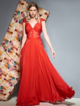 Cap Sleeves Ruched Red Evening Dress
