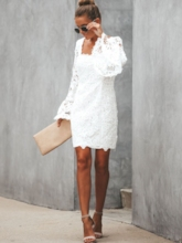 Long Sleeve Above Knee Backless Fall Women's Lace Dress
