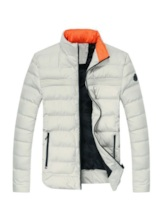 Standard Stand Collar Plain Casual Men's Down Jacket