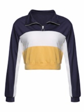 Quarter Zip Short Color Block Women's Hoodie