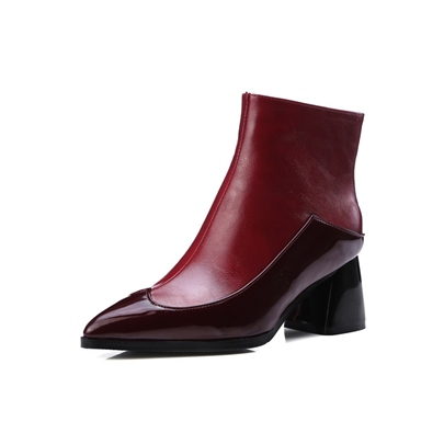 block heel pointed toe side zipper short floss customized ankle boots