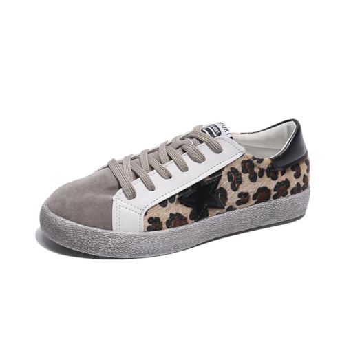Round Toe Low-Cut Upper Platform Lace-Up Casual Leopard Sneakers