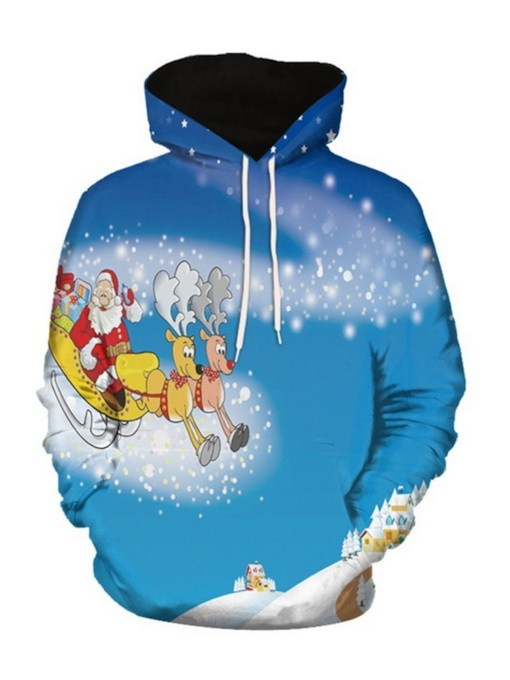 Ugly Christmas Print Cartoon Pullover European Men's Hoodie