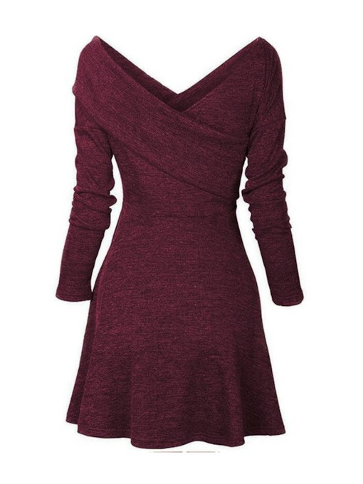 Pullover V-Neck Casual Women's Long Sleeve Dress