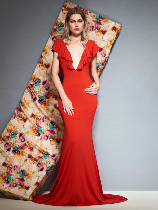 Floor-Length V-Neck Ruffles Trumpet Evening Dress