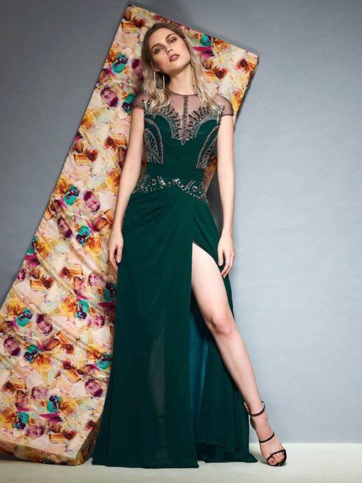 A-Line Cap Sleeves Beading Scoop Evening Dress 2019