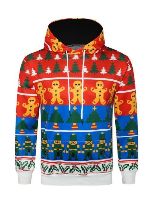 Ugly Christmas Loose Pullover Print Casual Men's Hoodie