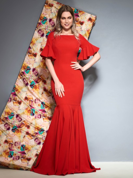 Short Sleeves Mermaid Floor-Length Ruffles Evening Dress