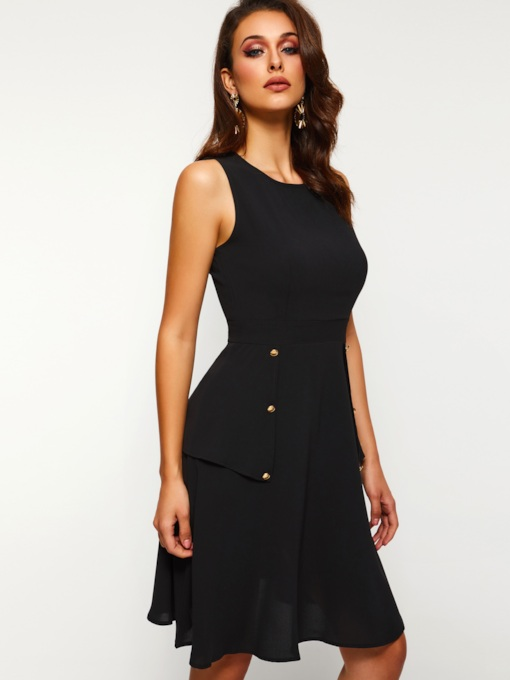 Round Neck Sleeveless A-Line Women's Day Dress