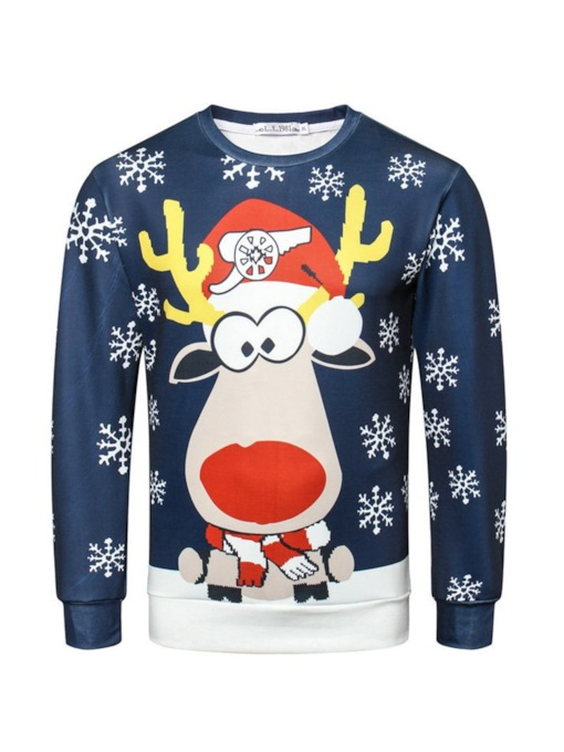 Ugly Christmas Cartoon Print Pullover Casual Men's Sweatshirt