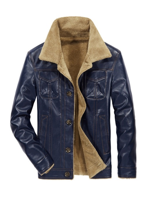 Fur Lapel Slim Men's PU Jacket
