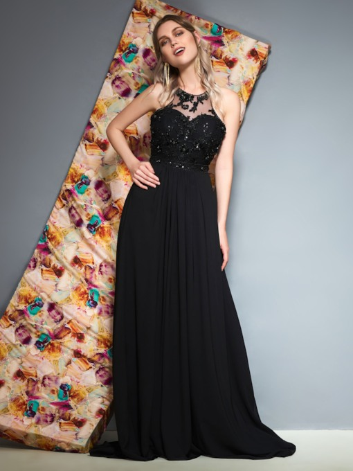 Appliques Sleeveless Floor-Length Scoop Prom Dress