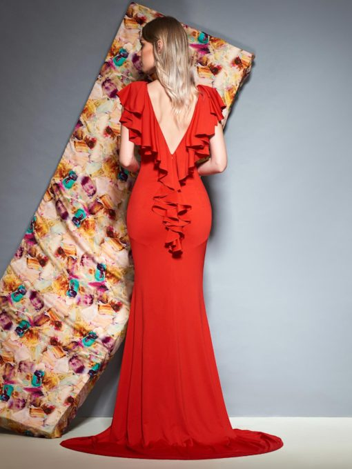 Cap Sleeves V-Neck Ruffles Red Evening Dress