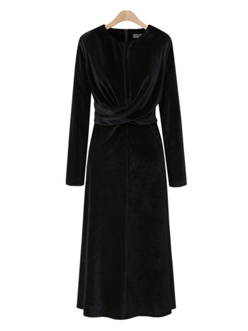 Velvet Zipper Elegant Women's Long Sleeve Dress