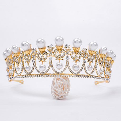 Tiara Crown Korean Pearl Wedding Tiara