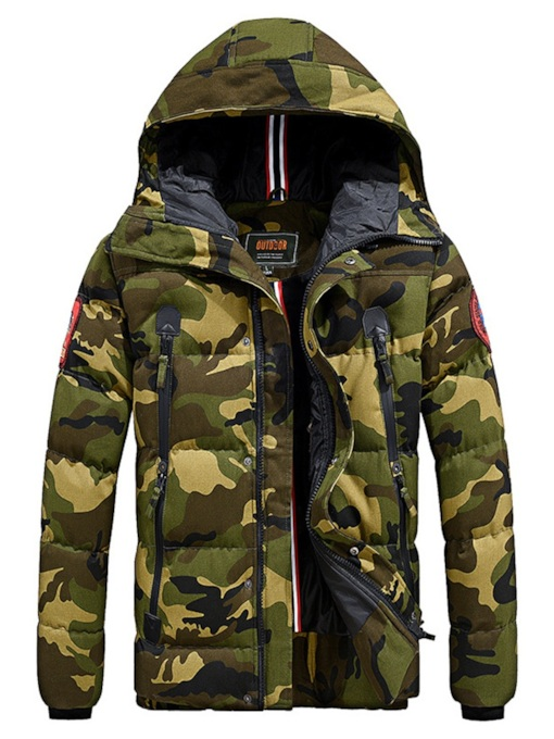 Hooded Camouflage Thick Men's Down Jacket
