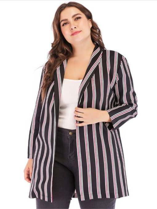 Color Block Stripe Shawl Collar Plus Size Women's Blazer
