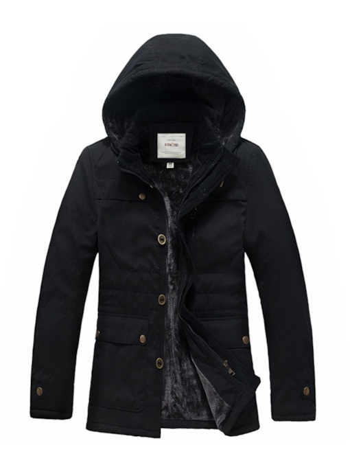 Plain Thick Stand Collar Pocket Hooded Men's Jacket