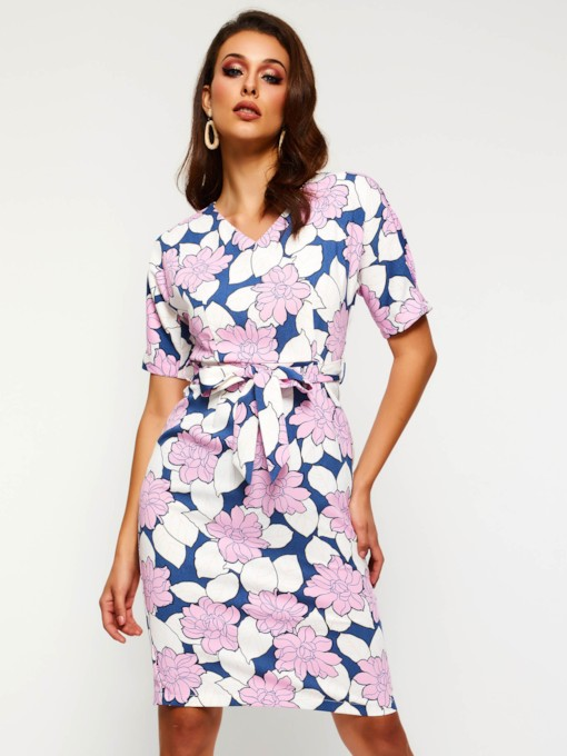 Print Short Sleeve Lace Up Women's Day Dress