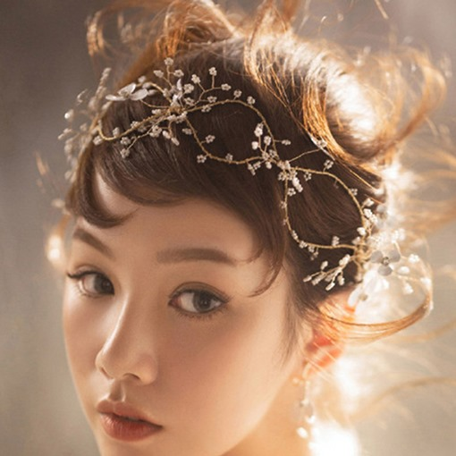 Korean Bead Floral Wedding Hairband