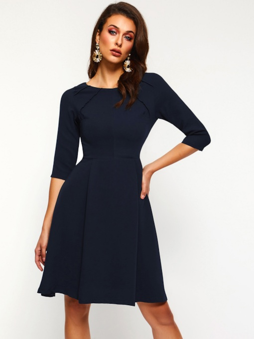 3/4 Length Sleeves A-Line Casual Women's Day Dress