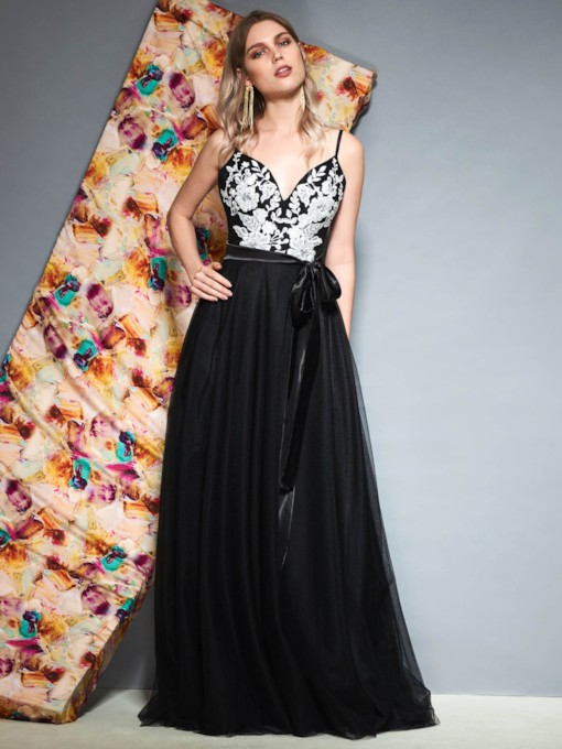 Spaghetti Straps Floor-Length A-Line Sashes Prom Dress