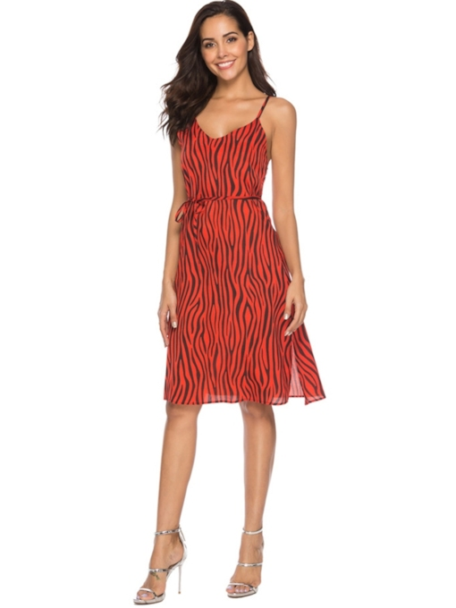Print Sleeveless V-Neck Sexy Women's Day Dress