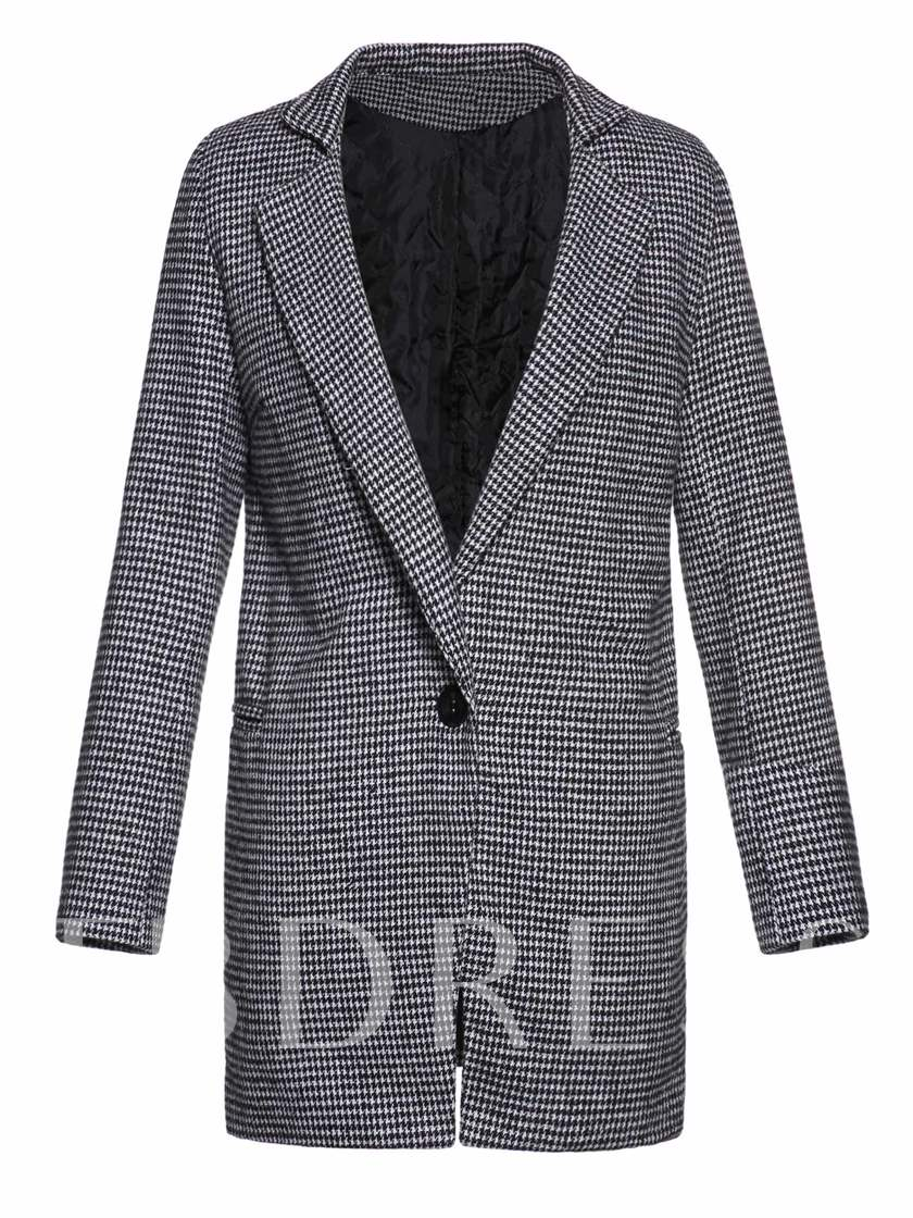 Houndstooth One Button Mid-Length Women's Overcoat