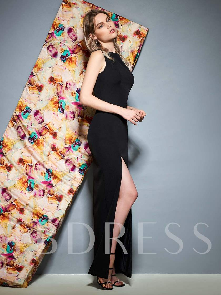 Split-Front One Shoulder Sheath Evening Dress