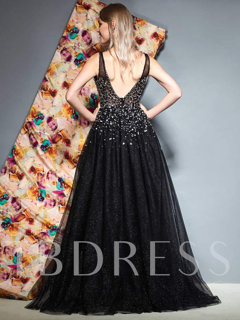 Beading Straps V-Neck Black Evening Dress