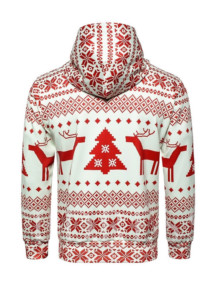 Ugly Christmas Pullover Cartoon Print Casual Men's Hoodie