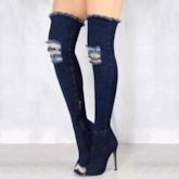 Denim Side Zipper Peep Toe Stiletto Heel Thigh High Boots
