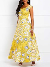 Sleeveless Floral Print A-Line Women's Maxi Dress