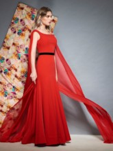 Floor-Length Bateau Trumpet Sleeveless Evening Dress