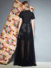 Short Sleeves Appliques Floor-Length A-Line Prom Dress