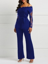 Lace Patchwork Full Length Lace-Up Slim Women's Jumpsuits