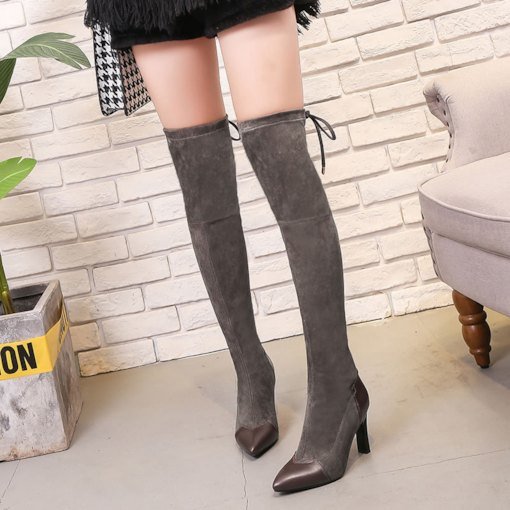 Stiletto Heel Patchwork Lace-Up Back Pointed Toe Knee High Boots