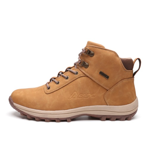 Round Toe Plain Lace-Up Front Wool Lining Men's Fashion Boots