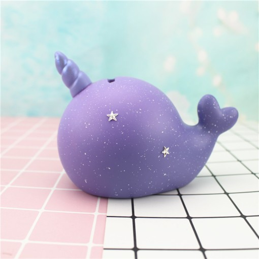 Star Colored Narwhal Design Resin Home Decoration