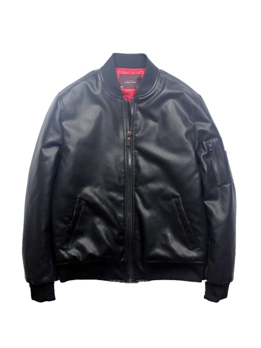 Stand Collar Standard Plain Zipper Men's Leather Jacket