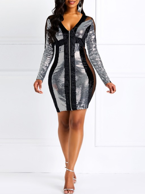 See-Through V-Neck Long Sleeve Women's Bodycon Dress