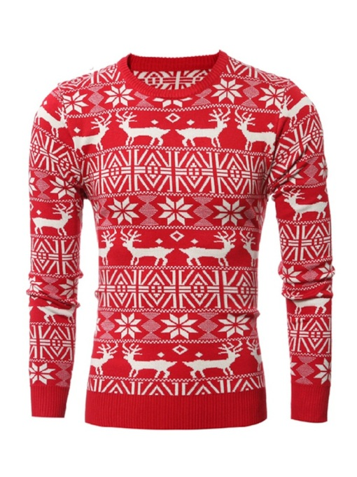 Ugly Christmas Slim Round Neck Men's Sweater