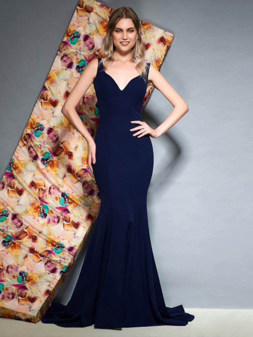 Trumpet Sleeveless Bowknot Floor-Length Evening Dress