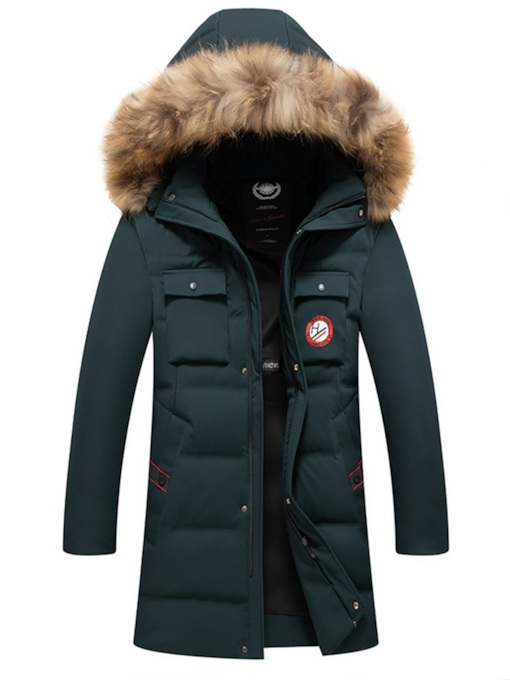 Mid-Length Casual Fur Hooded Men's Down Jacket