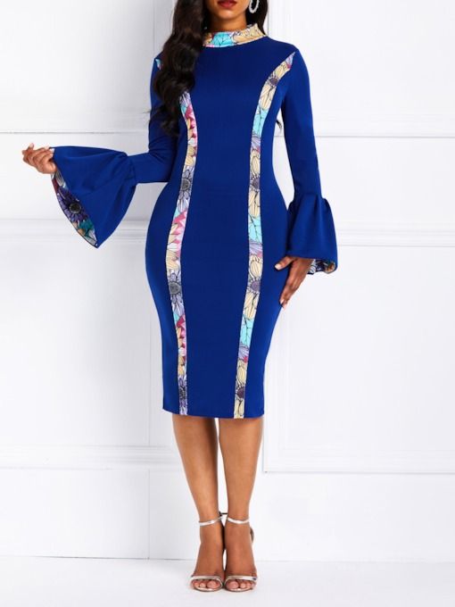 Long Sleeve Patchwork Spring Women's Bodycon Dress