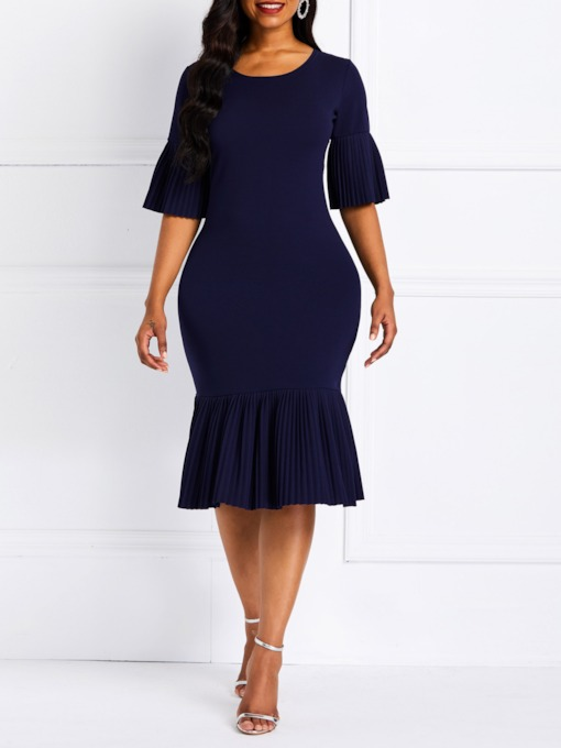 Half Sleeve Round Neck Pleated Women's Bodycon Dress