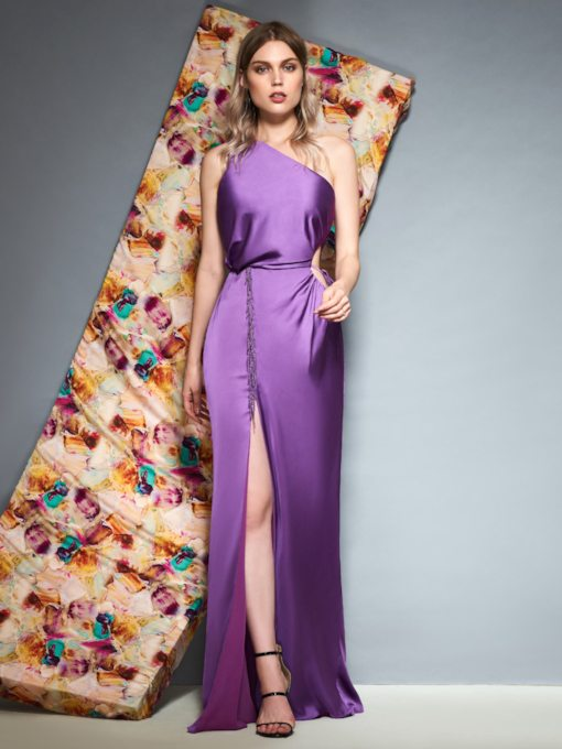 Split-Front One Shoulder Sheath Floor-Length Evening Dress