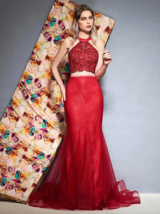 Sweep Trumpet Floor-Length Halter Evening Dress
